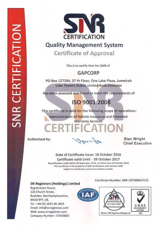 GAPCORP ISO Certificate 2016